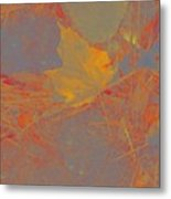 Leaf On Ground Metal Print
