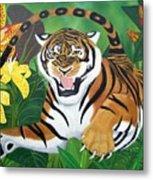 Leaping Tiger Metal Print