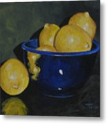 Lemons And Blue Bowl IIi Metal Print