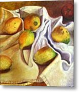 Lemons And Linen Metal Print