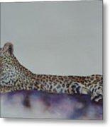 Leopard On Rock Metal Print