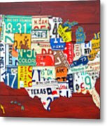 License Plate Map Of The United States - Midsize Metal Print