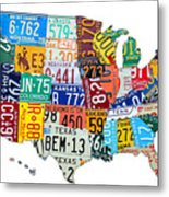 License Plate Map Of The United States Outlined Metal Print by Design Turnpike