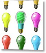 Light Bulbs Of A Different Color Metal Print
