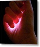 Light Captured In Child's Hand Metal Print