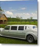 Light Limousine In The Meadow Metal Print