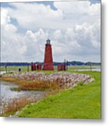Lighthouse At Port Kissimmee On Lake Tohopekaliga In Central Florida   Metal Print