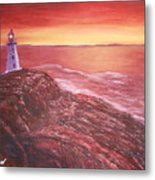 Lighthouse In Newfoundland Metal Print