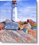 Lighthouse Peggys Cove Metal Print