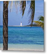 Lighthouse Under Palm Metal Print