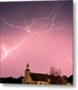 Lightning Bolts Over Spring Valley Country Church Metal Print