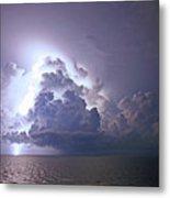 Lightning Over The Gulf Metal Print