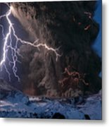 Lightning Pierces The Erupting Metal Print by Sigurdur H Stefnisson