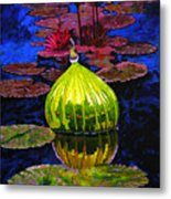 Lilies And Glass Reflections Metal Print