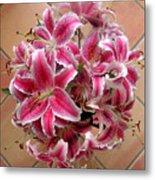 Lilies Gathered On Tile Metal Print