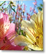 Lilies Pink Yellow Lily Flowers Canvas Art Prints Baslee Troutman Metal Print