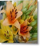 Lillies - Peach And Yellow Colors Metal Print