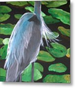 Lily And Egret Metal Print
