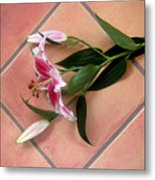 Lily Stem On Tile Metal Print