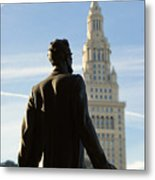 Lincoln Statue And Terminal Tower Metal Print