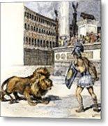 Lion & Gladiator Metal Print