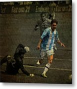 Lionel Messi Breaking Raphael Cabrals Ankles  Metal Print