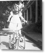 Little Girl On Vintage Bike Metal Print
