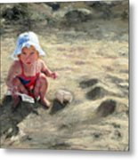 Little Girl Playing By Herself Metal Print