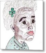 Little Girl With A Green Bow Metal Print