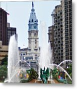 Logan Circle Fountain With City Hall In Backround Metal Print by Bill Cannon