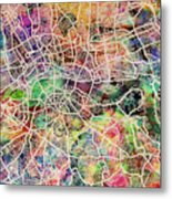 London Map Art Watercolor Metal Print