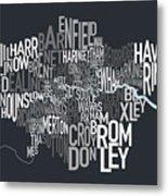 London Uk Text Map Metal Print by Michael Tompsett