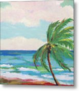 Lone Palm On The Beach Metal Print