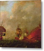Lord Howe And The Comte Destaing Off Rhode Island Metal Print by Robert Wilkins