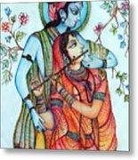 Lord Radha Krishna's Divine Love Metal Print by Kavita Sarawgi