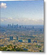 Los Angeles Skyline Between Power Lines Metal Print