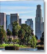 Los Angeles Skyline From Echo Park Metal Print