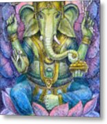 Lotus Ganesha Metal Print by Sue Halstenberg