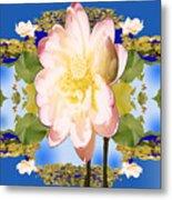Lotus Mandala In Blue Metal Print