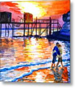 Lovers On Strand Metal Print