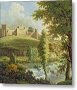 Ludlow Castle With Dinham Weir Metal Print by Samuel Scott