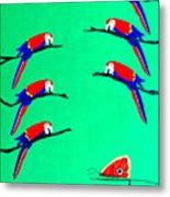 Macaw Ladder Metal Print