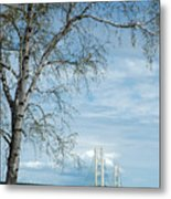 Mackinac Bridge Birch Metal Print