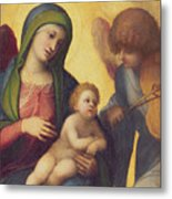 Madonna And Child With Angels Metal Print