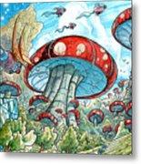 Magic Mushroom Forest Metal Print