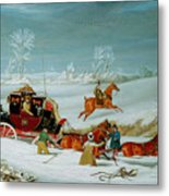 Mail Coach In The Snow Metal Print