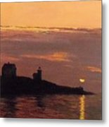 Maine Lighthouse Sundown Metal Print