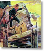 Man And Guide In Canoe Metal Print by R Farrington Elwell