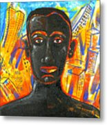 Man And The City Metal Print