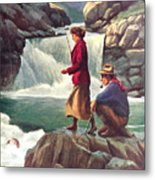 Man And Woman Fishing Metal Print by JQ Licensing